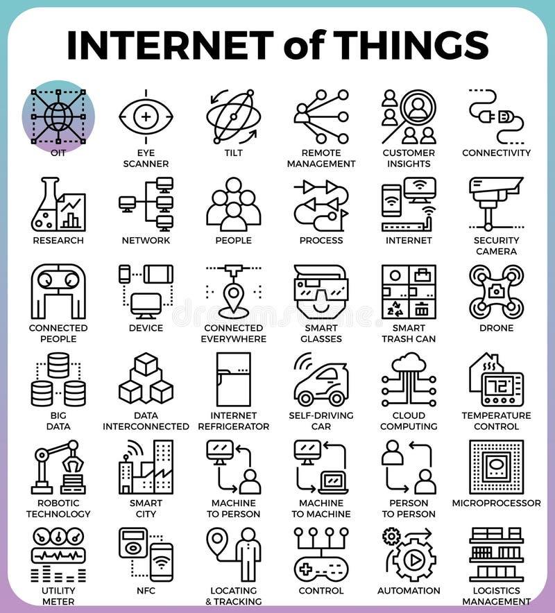 IOT: Internet de los iconos del concepto de las cosas stock de ilustración