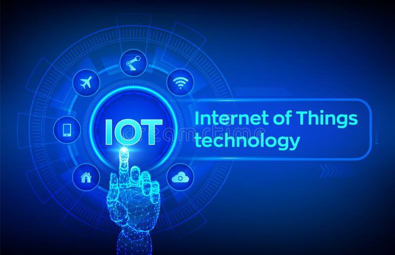 IOT Internet del concepto de la tecnología de las cosas en la pantalla virtual Red de comunicaciones inal?mbrica Automatización d ilustración del vector