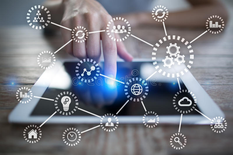 IOT Internet delle cose Automazione e concetto moderno di tecnologia immagine stock libera da diritti