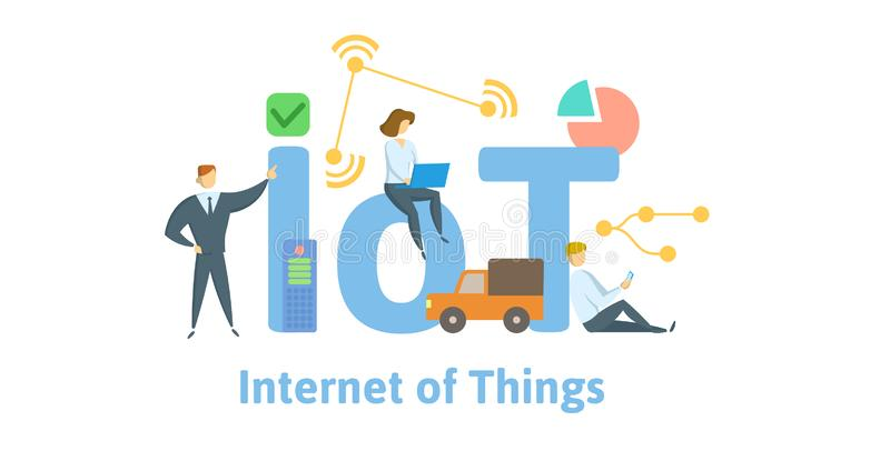IOT, Internet des choses Concept avec des mots-clés, des lettres et des icônes Illustration plate de vecteur D'isolement sur le b illustration de vecteur