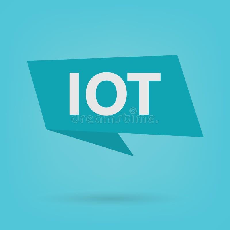IOT-Internet des Sachenakronyms auf einem Aufkleber lizenzfreie abbildung
