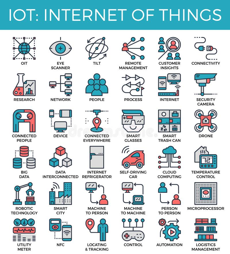 IOT : Internet of things concept icons. IOT : Internet of things concept detailed line icons set in modern line icon style for ui, ux, website, web, app graphic royalty free illustration