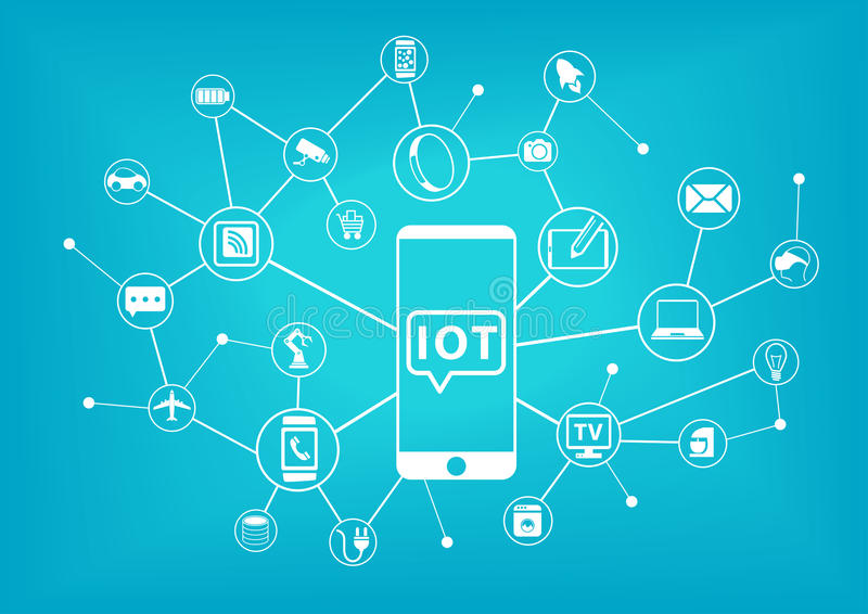 IOT (internet of things) concept. Mobile phone connected to the internet stock illustration