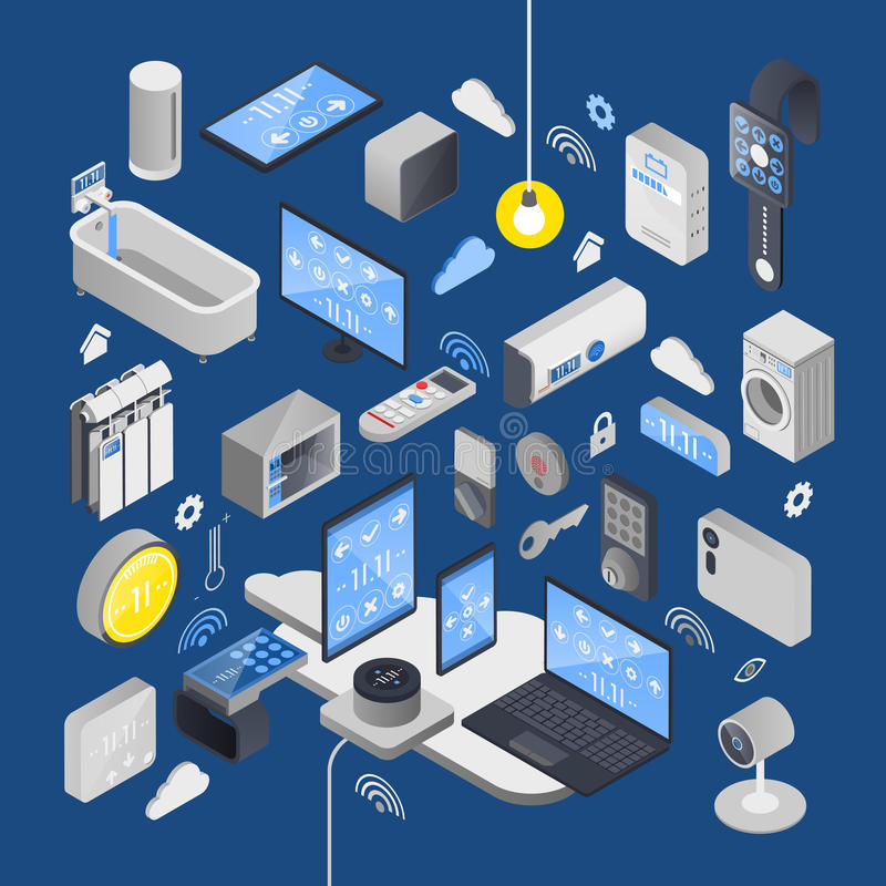 IOT Internet Of Things Isometric Composition. With elements of smart house and technical attributes vector illustration stock illustration