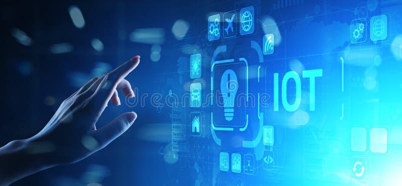 IOT Internet van Modern de Technologieconcept van de dingen Digitaal transformatie op het virtuele scherm royalty-vrije stock afbeelding