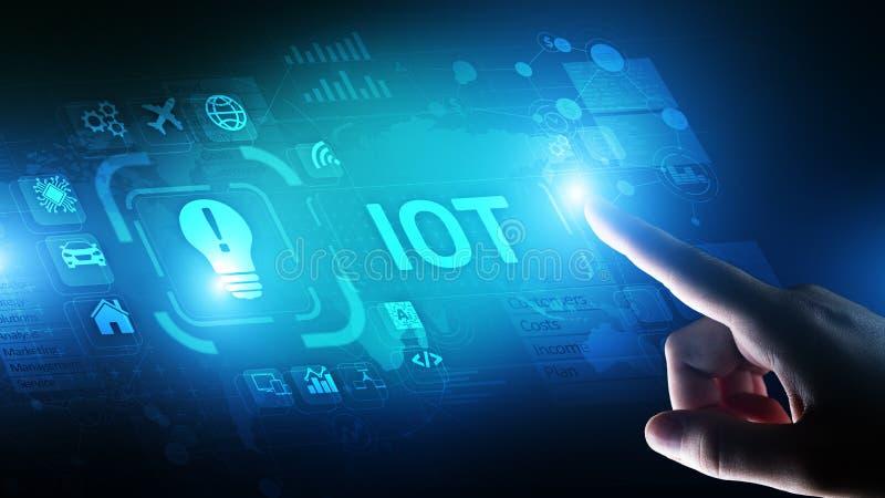 IOT Internet van Modern de Technologieconcept van de dingen Digitaal transformatie op het virtuele scherm royalty-vrije stock afbeeldingen