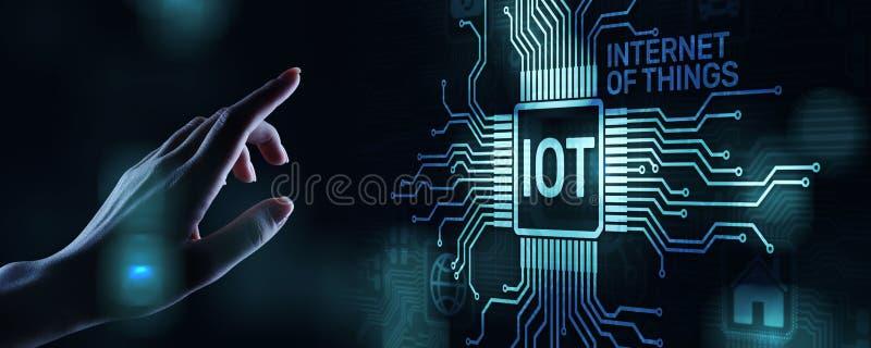 IOT Internet van Modern de Technologieconcept van de dingen Digitaal transformatie op het virtuele scherm stock foto