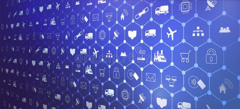 IoT-Internet von Sachen Industrie 4 0 Hintergrund lizenzfreie abbildung