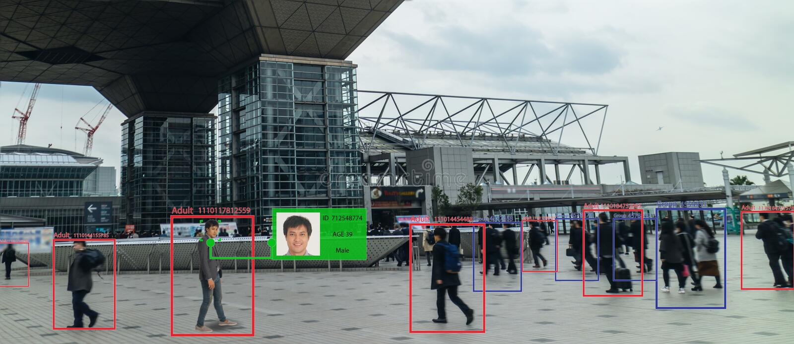 Iot machine learning with human and object recognition which use artificial intelligence to measurements ,analytic and identical c royalty free stock photo