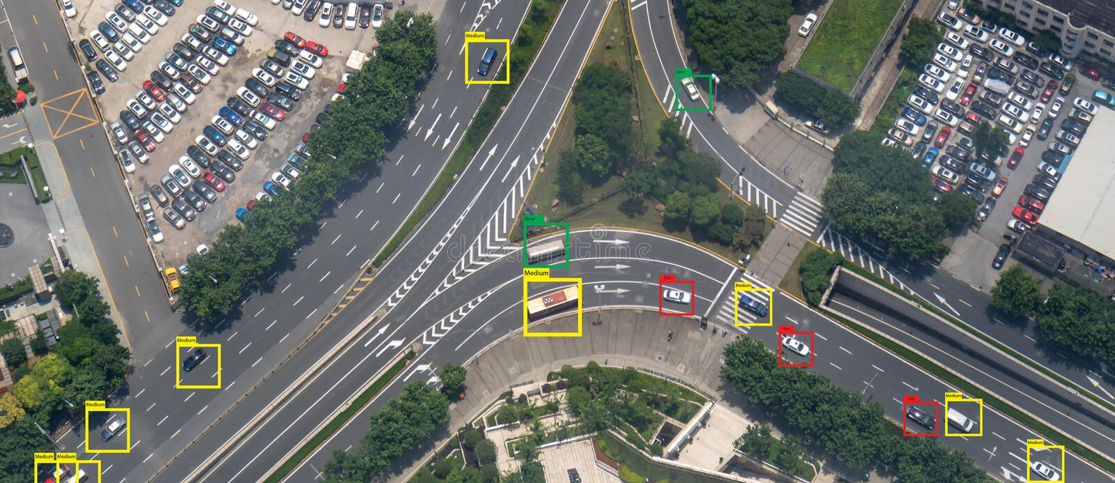 Iot machine learning with speed car and object recognition which use artificial intelligence to measurements ,analytic and identic. Al concept, it invents to stock image