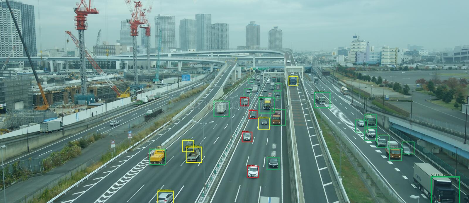 Iot machine learning with speed car and object recognition which use artificial intelligence to measurements ,analytic and identic. Al concept, it invents to royalty free stock images