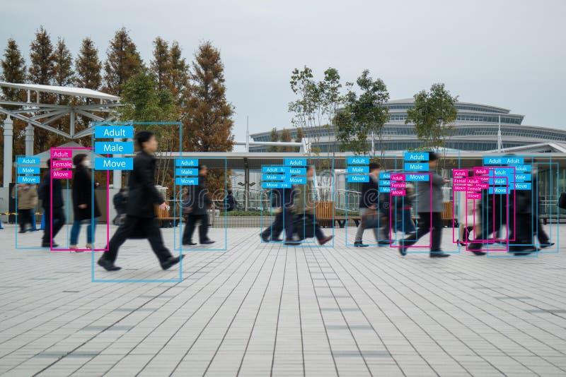 Iot maszynowy uczenie z istoty ludzkiej i przedmiota rozpoznaniem który używa sztuczną inteligencję pomiarów, analitycznego i ide fotografia royalty free
