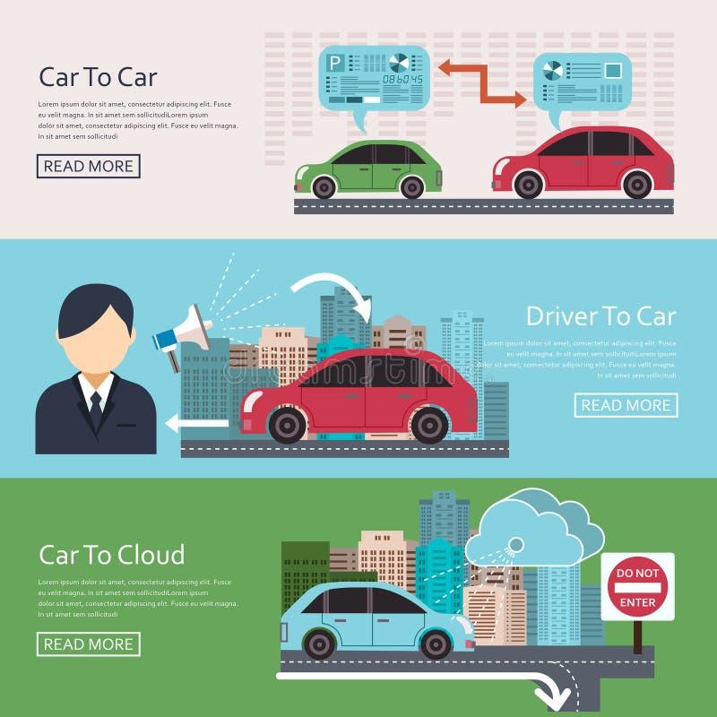 Iot no conceito automotivo ilustração do vetor