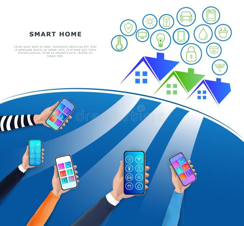 IOT ou Internet do conceito das coisas Controle de sistema esperto da casa atrav?s da rede m?vel do app e da casa Technolo modern ilustração do vetor