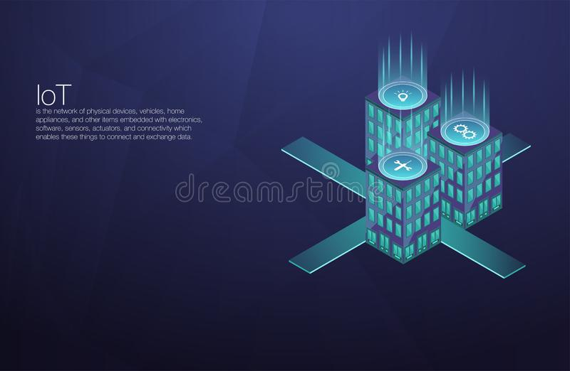 IoT platform future technology. Smart home connection and control with devices through home network. Internet of things doodles ba vector illustration