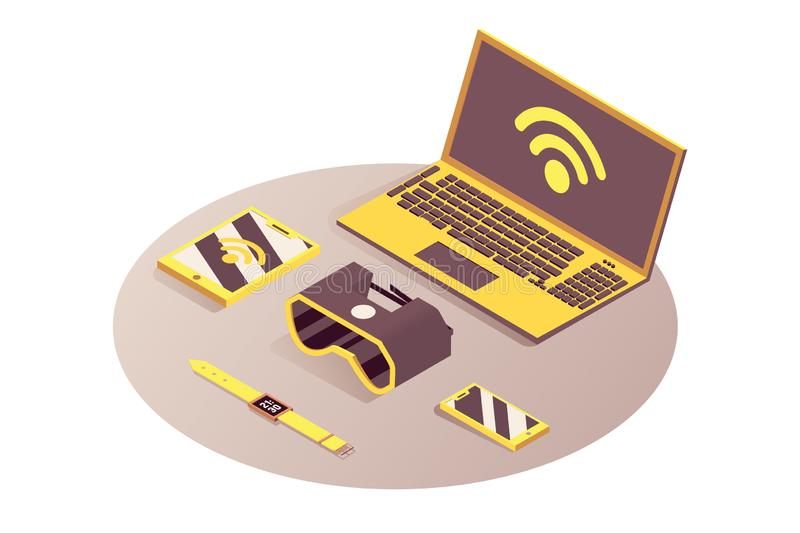 Iot, portable devices vector isometric illustration. Internet of things, cloud computing service, gadgets connected to royalty free illustration