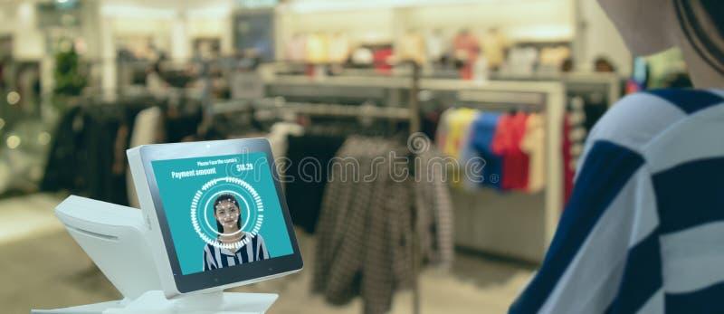 在未来派iot技术销售的概念的聪明的零售,顾客用途面孔登录的recognite应用对购买的,s系统 库存照片