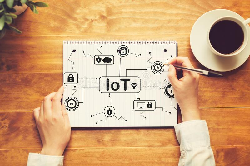 IoT security theme with a person writing in a notebook royalty free stock photography