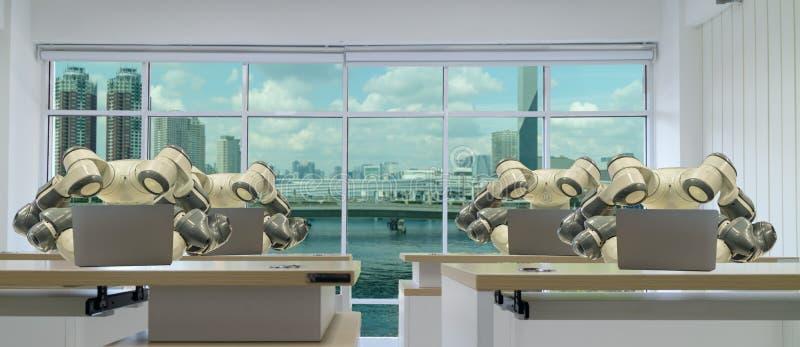 Iot slimme fabriek in de industrie 4 het concept van de 0 robottechnologie, ingenieur die, bedrijfsmens futuristische tablet gebr royalty-vrije stock fotografie