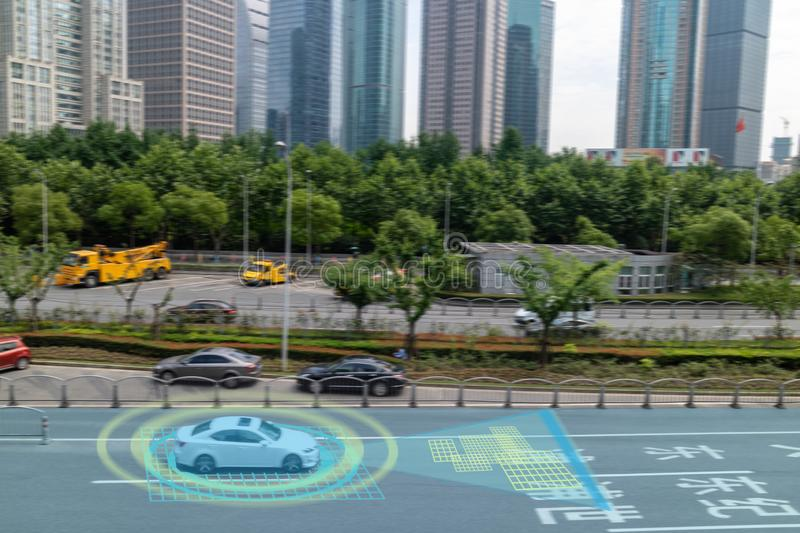 Iot smart automotive Driverless car with artificial intelligence combine with deep learning technology. self driving car can situa. Tional awareness around the stock photography