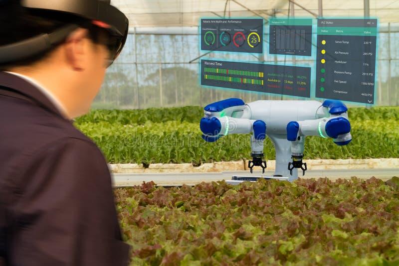 Iot smart branschrobot 4 0 åkerbruka begrepp, agronomen, farmerblurred genom att använda smarta exponeringsglas ökade blandad vir royaltyfria bilder