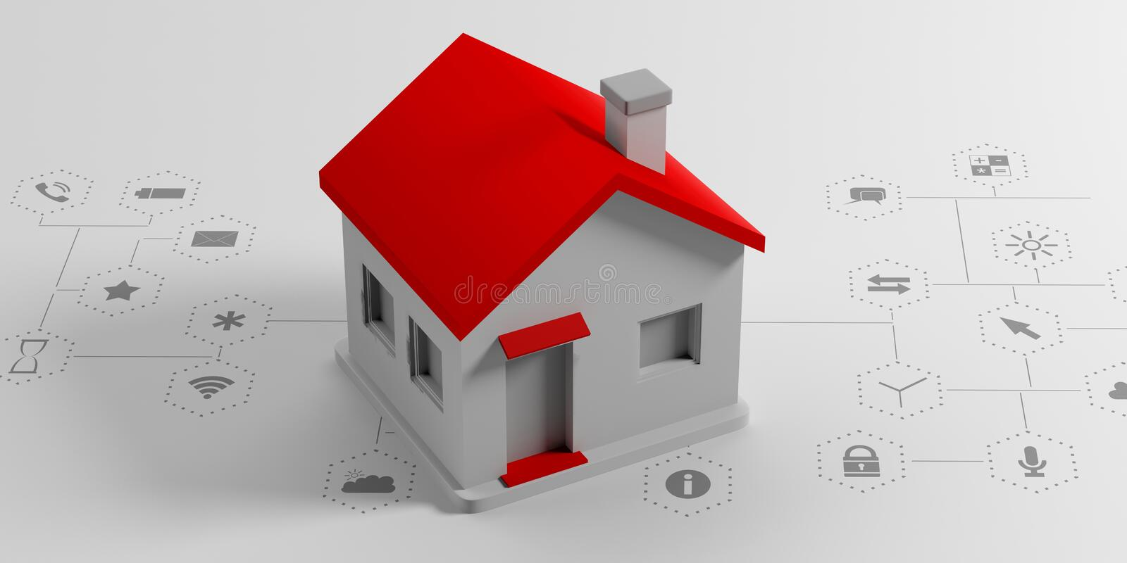IOT, smart home concept. Small house on white background with apps signs. 3d illustration vector illustration