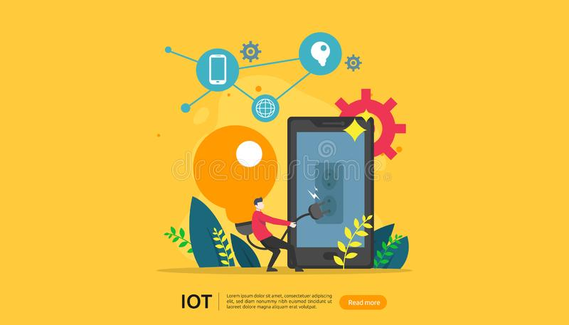 IOT smart house monitoring concept for industrial 4.0. bulb light remote technology on smartphone screen app of internet of things. Web landing page template vector illustration