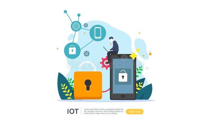 IOT smart house monitoring concept for industrial 4.0. home remote lock technology on smartphone screen app of internet of things. Web landing page template vector illustration
