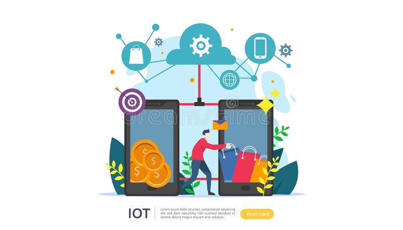 IOT smart house monitoring concept for industrial 4.0 online market on smartphone screen of internet of things connected objects. Web landing page template stock illustration