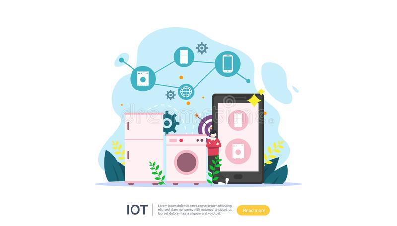 IOT smart house monitoring concept for industrial 4.0. remote appliances technology on smartphone screen app of internet of things. Web landing page template stock illustration