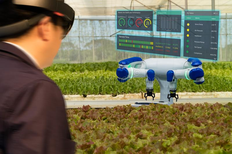 Iot smart industry robot 4.0 agriculture concept,agronomist,farmerblurred using smart glasses augmented mixed virtual reality,a. Rtificial intelligence royalty free stock images