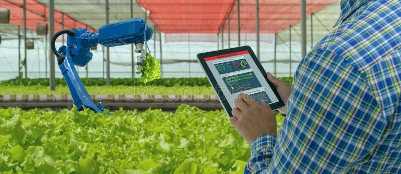 Iot smart industry robot 4. 0 landbouwconcept, industriële landbouwkundige, boer die software gebruikt Kunstmatige intelligentie  stock fotografie