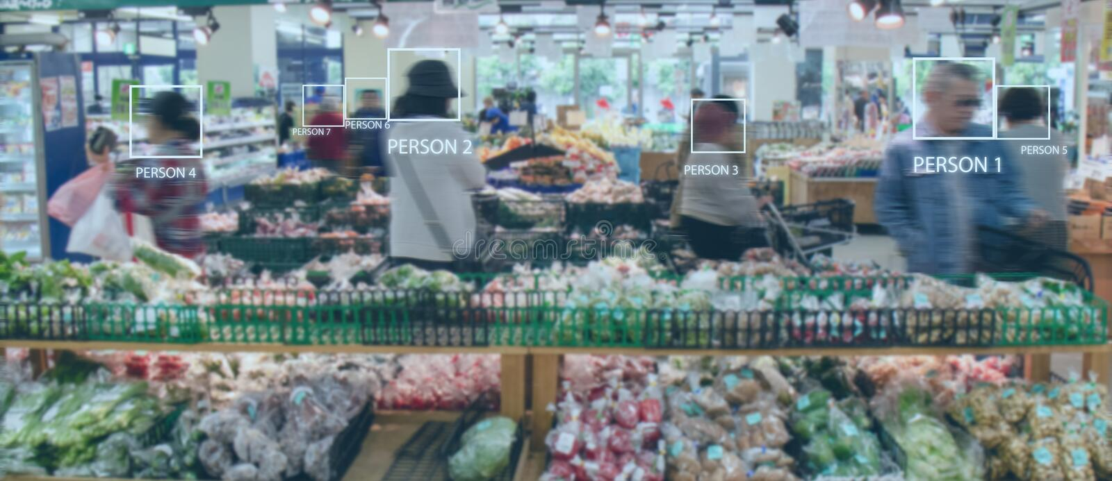Iot smart retail use computer vision, sensor fusion and deep learning concept, automatically detects when products are taken from. Or returned to the shelves stock images