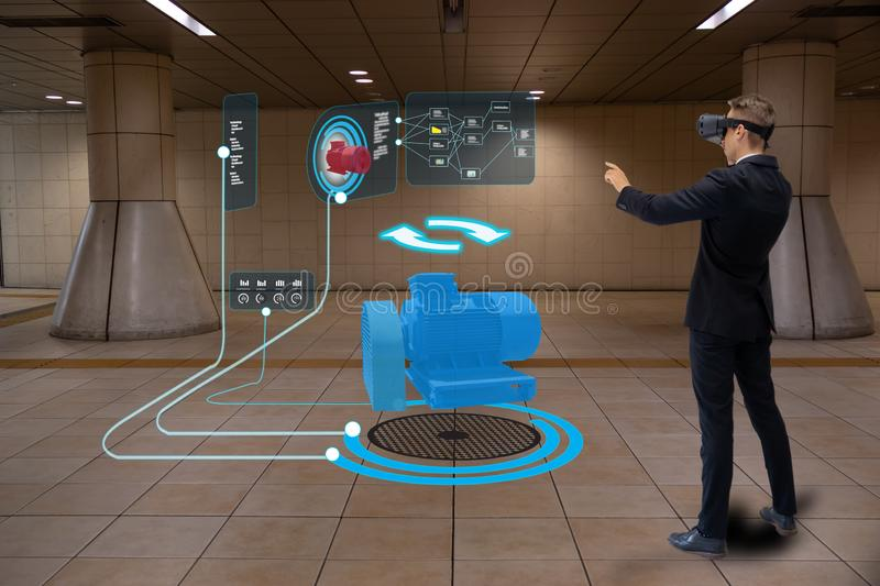 Iot smart technology futuristic in industry 4.0 concept, engineer use augmented mixed virtual reality to education and training, r stock images