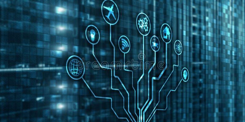 IOT Technologie de l'information de matrice de fond de rupture de numérisation, de Digital et concept d'Internet illustration de vecteur