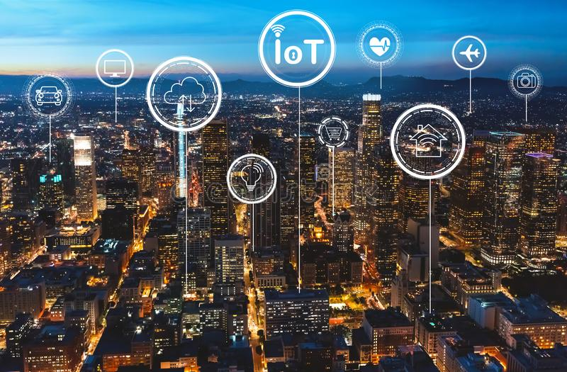 IoT theme with downtown Los Angeles. At night stock illustration