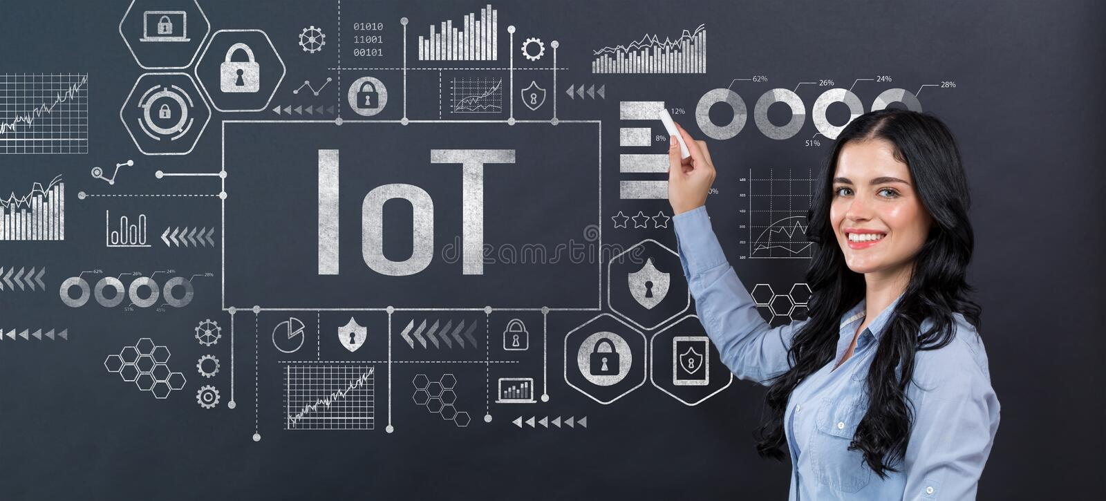 IoT theme with young woman royalty free stock image