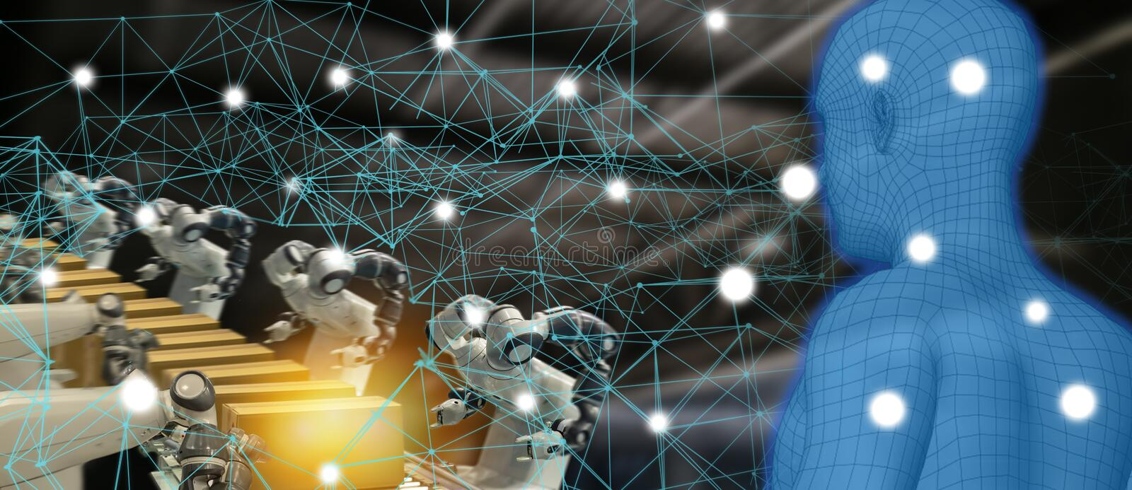 Iot trend industry 4.0 concept,industrial engineer using artificial intelligence ai augmented, virtual reality with wire mesh to. Monitoring machine in real stock image