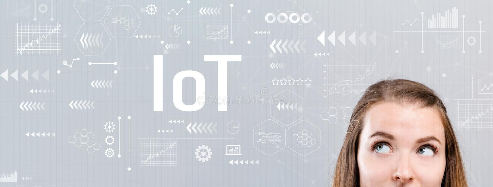 IoT with young woman royalty free stock photos