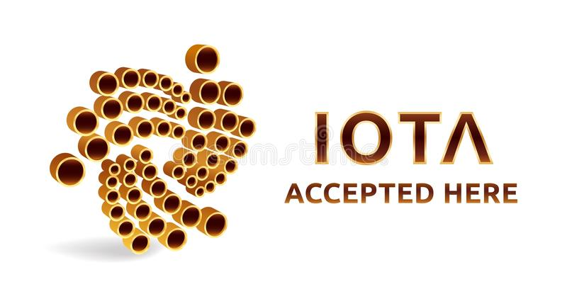 Iota accepted sign emblem. Crypto currency. 3D isometric golden Iota sign with text Accepted Here. Block chain. Stock illus stock illustration
