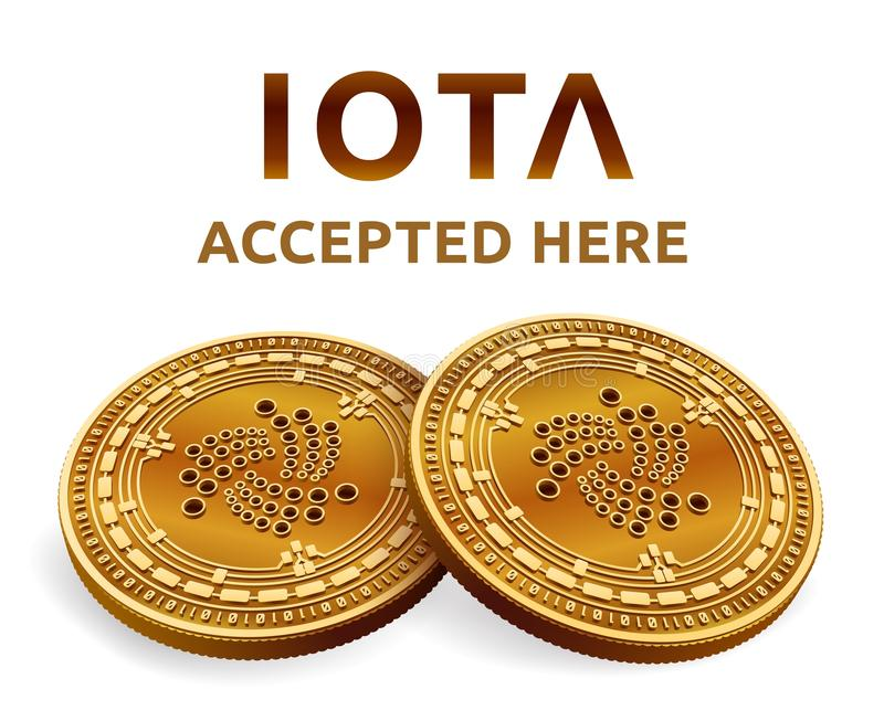 Iota. Accepted sign emblem. Crypto currency. Golden coins with Iota symbol isolated on white background. 3D isometric Physical coi vector illustration