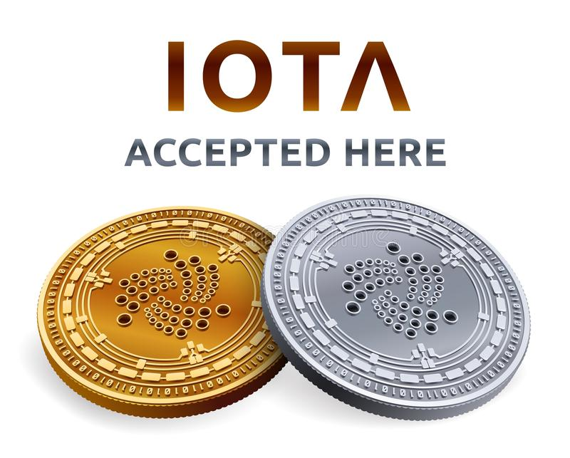 Iota. Accepted sign emblem. Crypto currency. Golden and silver coins with Iota symbol isolated on white background. 3D isometric P stock illustration