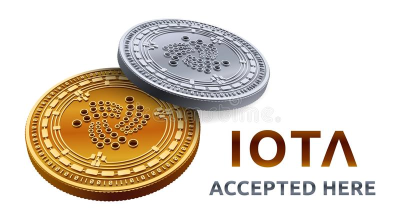 Iota. Accepted sign emblem. Crypto currency. Golden and silver coins with Iota symbol isolated on white background. 3D isometric P vector illustration