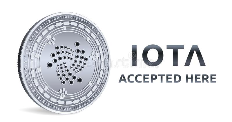 Iota. Accepted sign emblem. Crypto currency. Silver coin with Iota symbol isolated on white background. 3D isometric Physical coin royalty free illustration