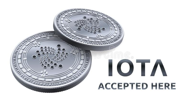Iota. Accepted sign emblem. Crypto currency. Silver coins with Iota symbol isolated on white background. 3D isometric Physical coi stock illustration