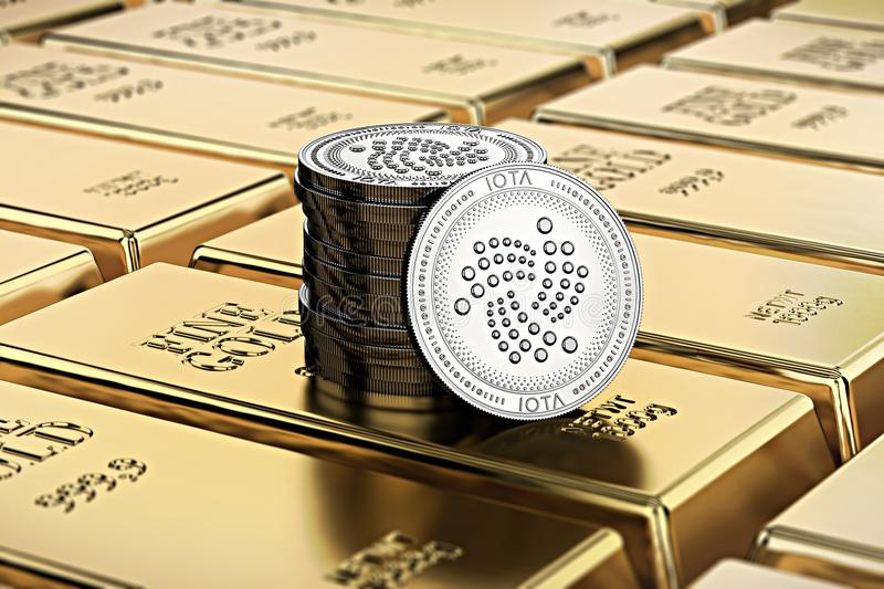 IOTA coins laying on stacked gold bars gold ingots rendered with shallow depth of field. Concept of highly desirable cryptocurrency. 3D rendering vector illustration