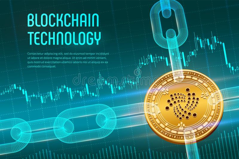 Iota. Crypto currency. Block chain. 3D isometric Physical golden Iota coin with wireframe chain on blue financial background. Bloc. Kchain concept. Editable royalty free stock photo