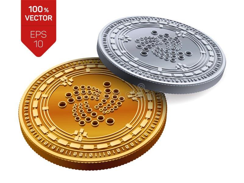 iota Crypto devise pièces de monnaie 3D physiques isométriques Devise de Digital Pièces d'or et en argent avec le symbole d'iota  illustration libre de droits