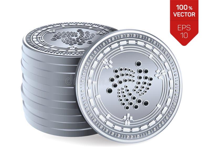 iota Crypto devise pièces de monnaie 3D physiques isométriques Devise de Digital Pile de pièces en argent avec le symbole d'iota  illustration libre de droits