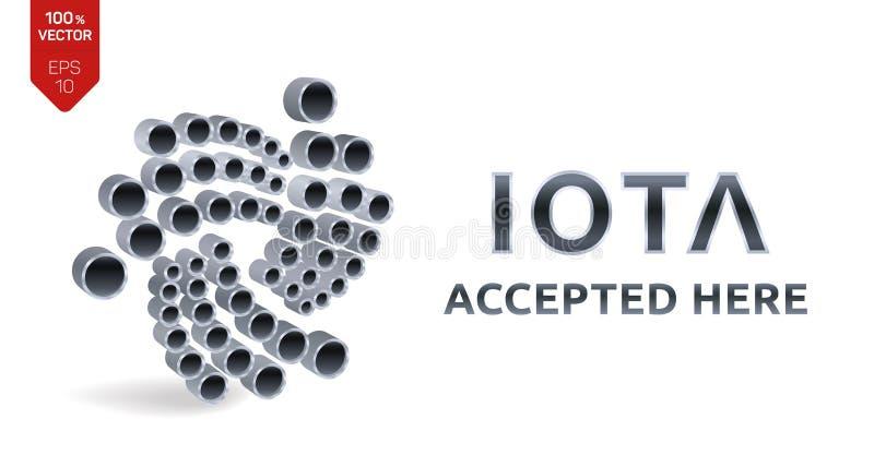 Iota geltendes Zeichenemblem Schlüsselwährung isometrisches Silber 3D Iota-Zeichen mit dem Text hier angenommen Block-Kette Vekto stock abbildung